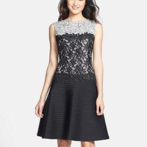 Tadashi Shoji Floral Lace Neoprene Fit Flare Dress